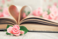 Pages of an old book curved into a heart and roses. Happy Valent