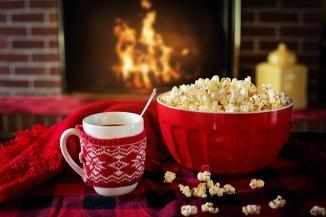 cuddle popcorn fireside